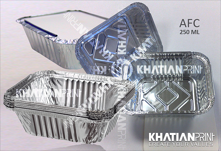 250 ml aluminium container aluminum alu foil small fast food box packs | khatian print