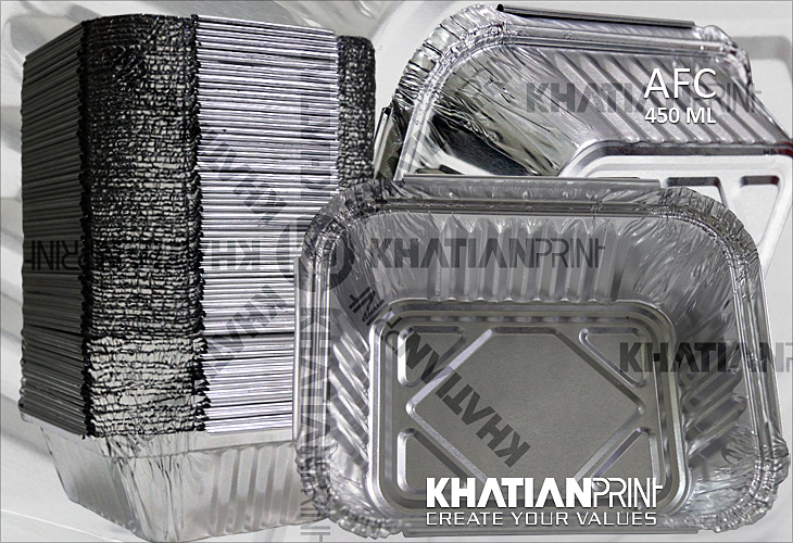 450 ml aluminium foil food container aluminum alu regular standard box | khatian print