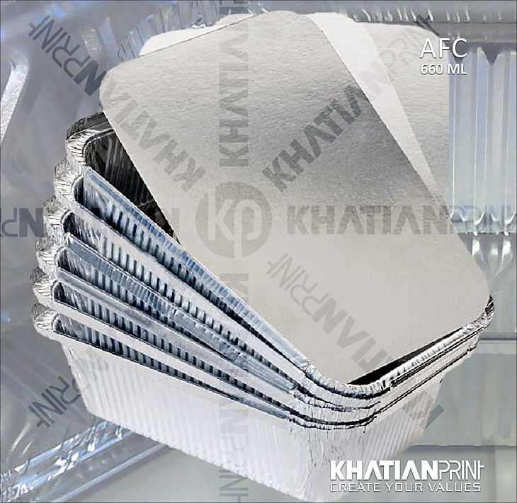 660 ml aluminium container box medium aluminum case alu foil pack | khatian print