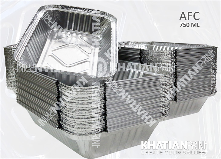 750 ml aluminium lunch container box aluminum alu foil banquet pack | khatian print