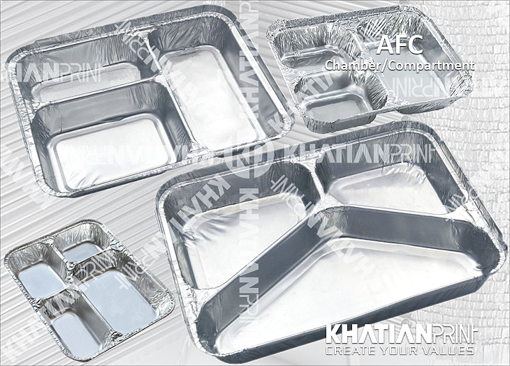 compartment chamber aluminium aluminum alu foil food container box | khatian print