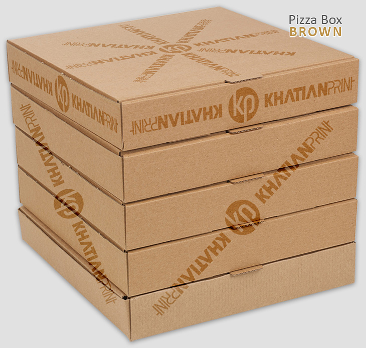 brown pizza boxes piza carton packets takeaway pitza parcel delivery pack | khatian print